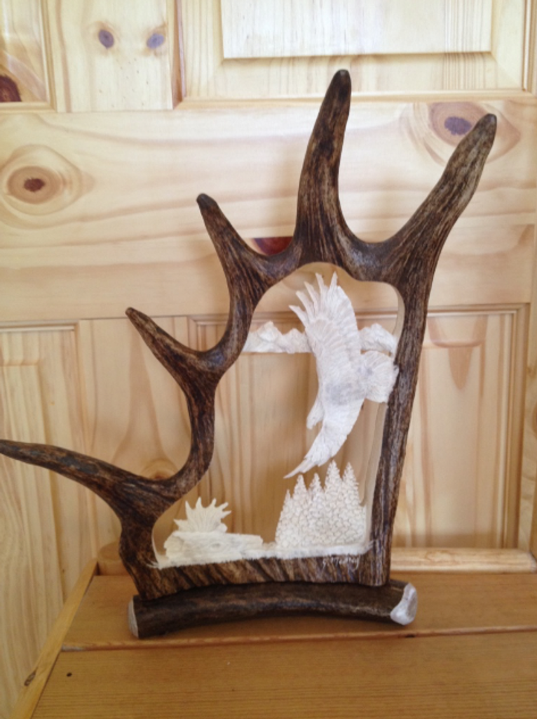 Banking Eagle Antler Carving