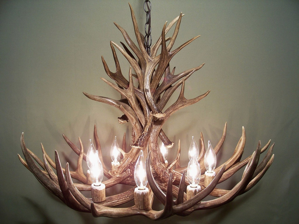 "Wyoming Deer Antler Chandelier, 28"" Wide by 20"" Tall, 8 Lights"