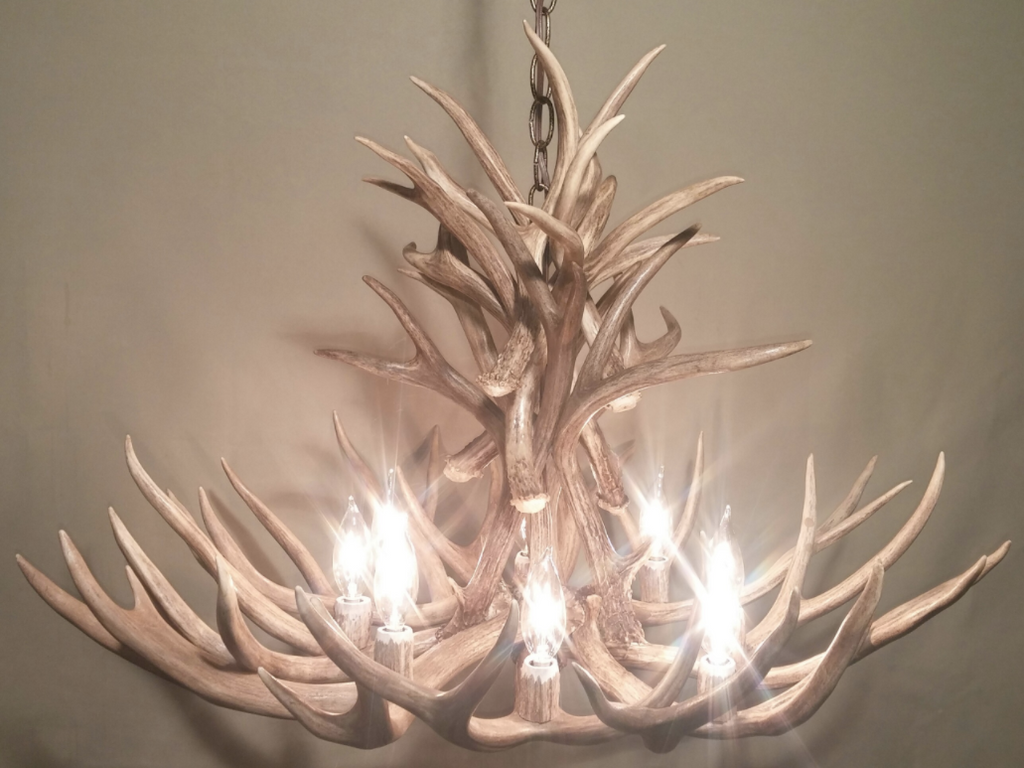 "The Wyoming Deer Antler Chandelier, 28"" Wide by 20"" Tall, 8 Lights"