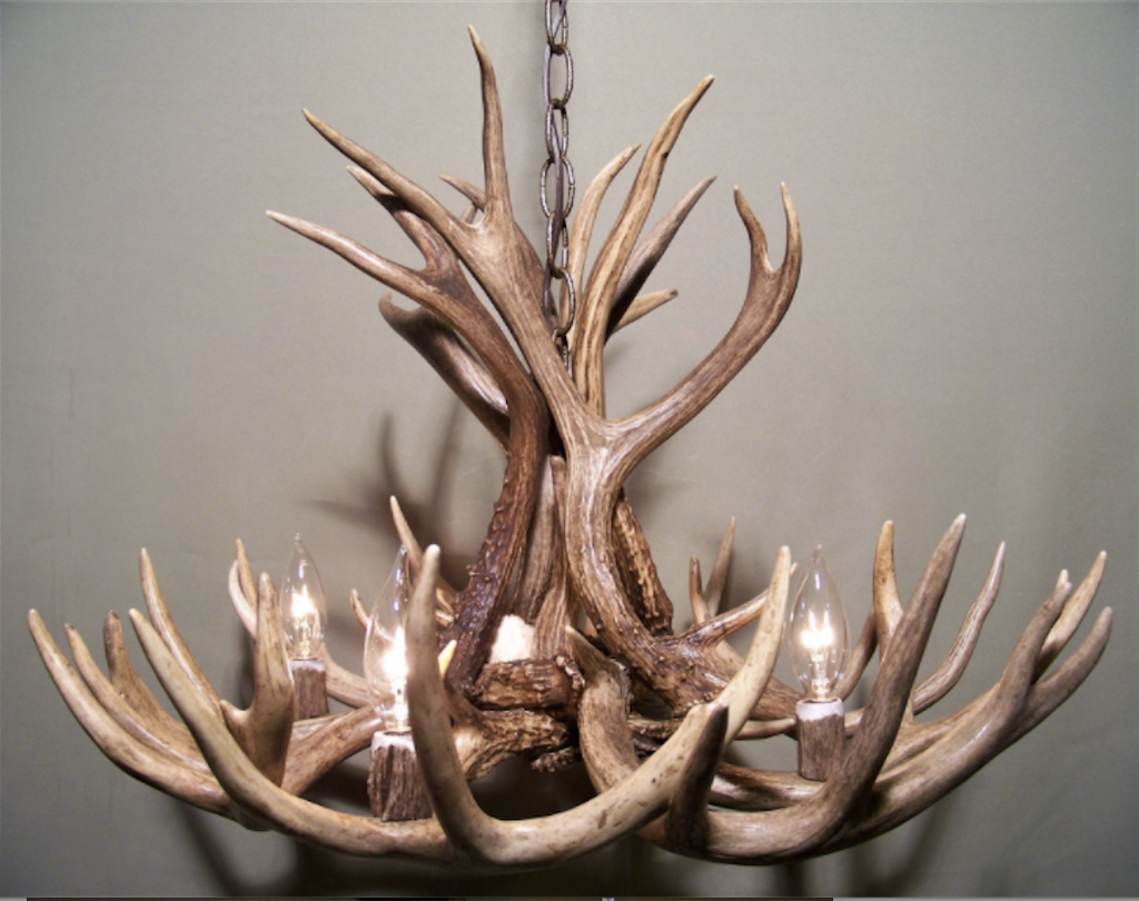 "Michigan Deer Antler Chandelier, 23"" Wide x 16"" Tall, 4 Lights"