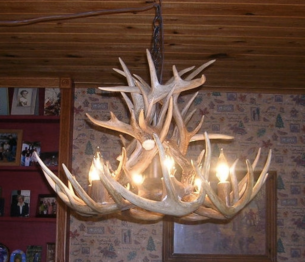 "The Maine Deer Antler Chandelier, 26"" Wide x 20""Tall, 6 Lights, Downlight"