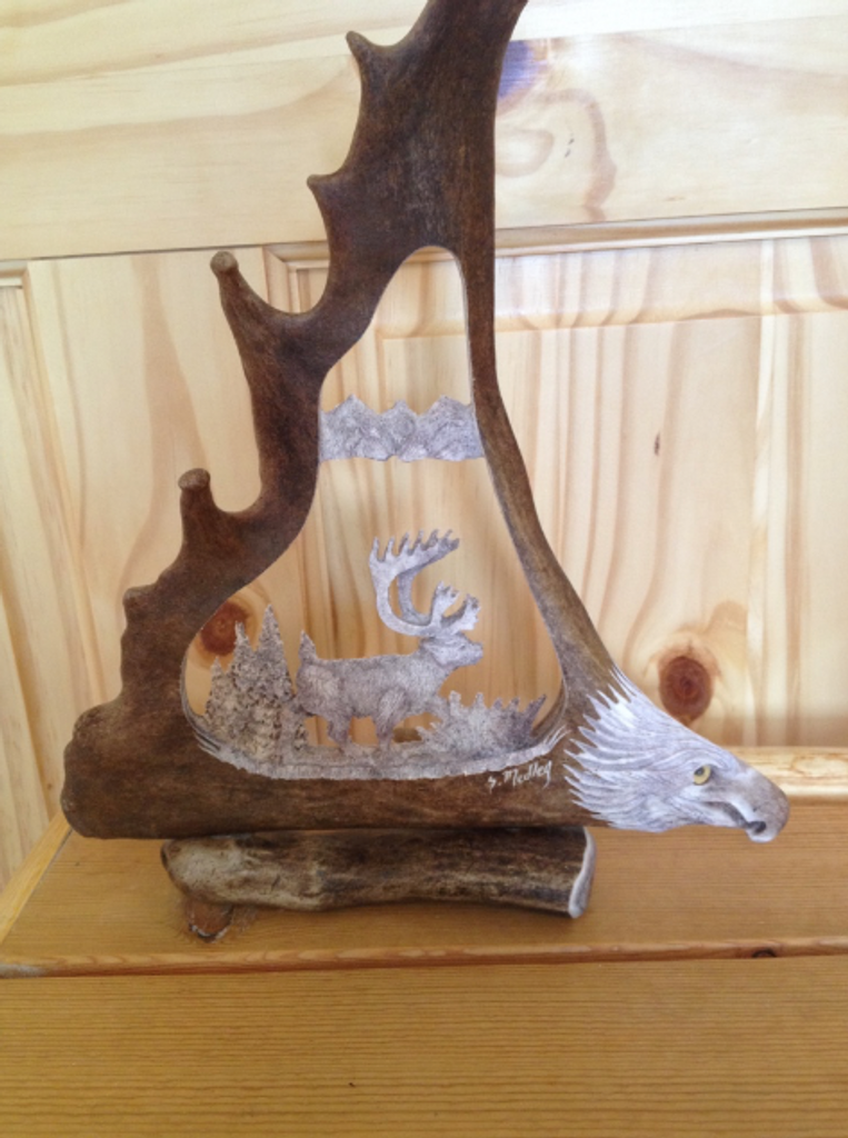 Walking Caribou Antler Carving