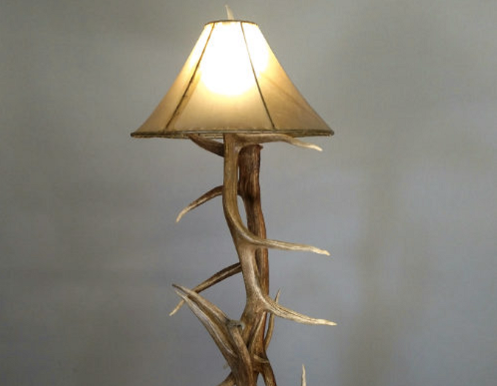 "Elk Antler Floor Lamp, 50""Tall by 22"" Wide"