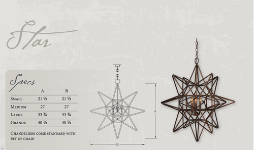 St. James Star Copper Chandelier