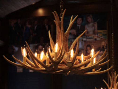 "Owyhee Cast Antler Chandelier, 36""Wide by 20""Tall"