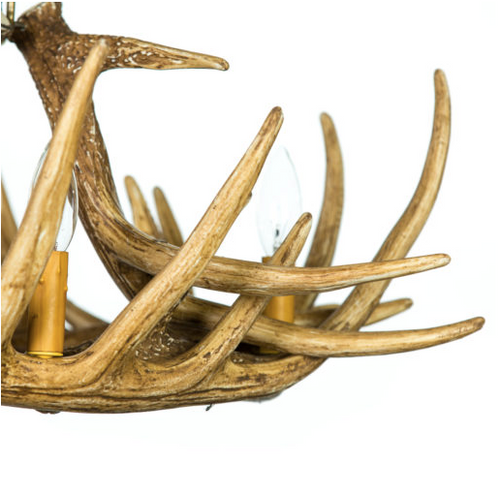 "Prentice Whitetail Cast Antler Chandelier, 31""Wide by 16""Tall"