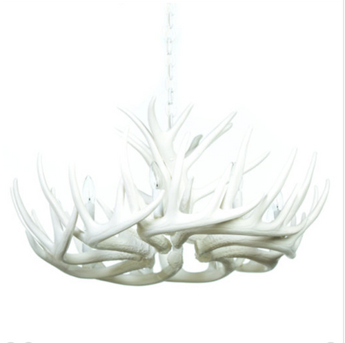 "Blue Mounds Cast Antler Chandelier, 32""Wide by 14""Tall"