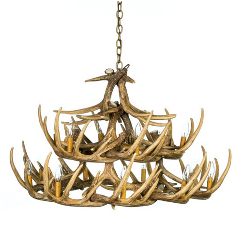"River Drive Cast Antler Chandelier,42""Wide by 26""Tall"