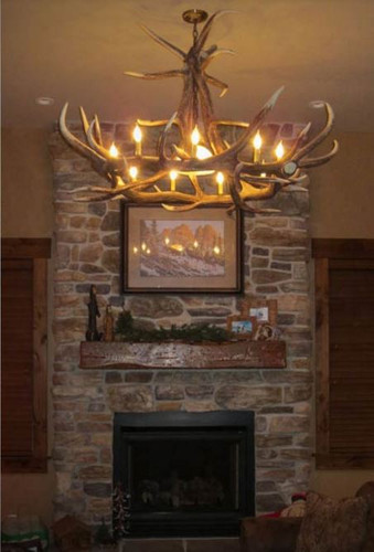 "Ghost Mountain Cast Elk Antler Chandelier,55""Wide by 32""Tall"