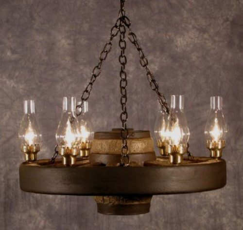 "Move 'Em Out! Small Wagon Wheel Chandelier, Reproduction,30""Wide by12""Tall"