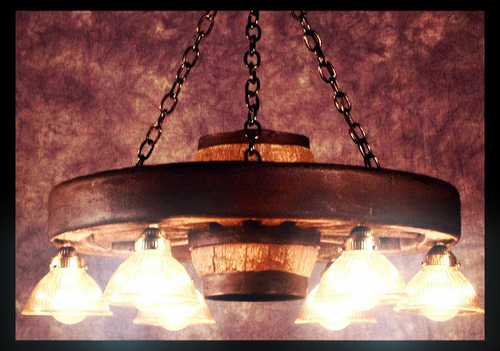 "Circle the Wagons! Small Wagon Wheel Chandelier, Reproduction,30""Wide by 12""Tall"