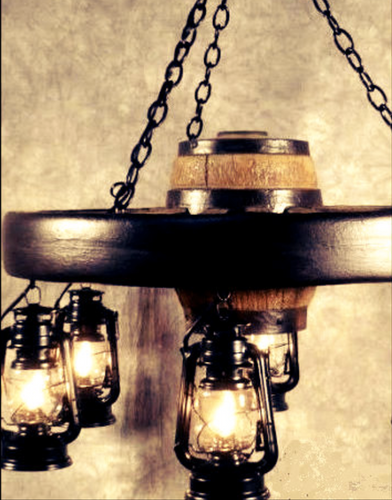 "The Bonanza! Small Wagon Wheel Chandelier, Reproduction, 30""Wide by 12""Tall"