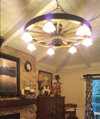 "The Rawhide! Large Wagon Wheel Chandelier, Reproduction,42""Wide by 12""Tall"