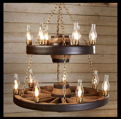 """Wild West Rustic Double Wagon Wheel Chandelier, Reproduction,42""""Wide by 40""""Tall"""
