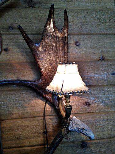 Moose Antler Wall Sconce w/Rawhide Shade