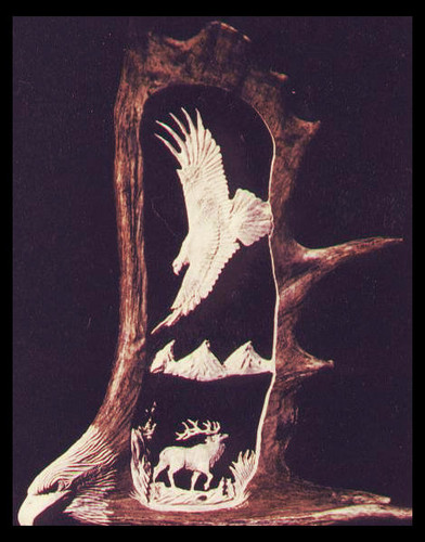 Eagle Watchful Eyes Antler Carving w/Eagle Head