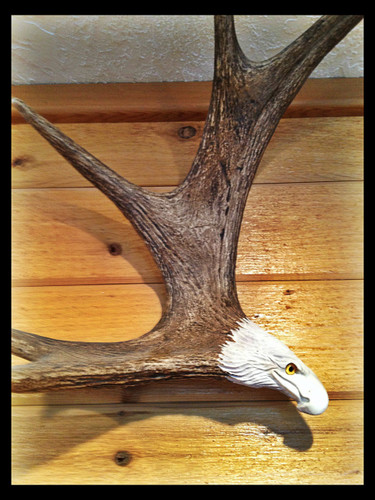 Soaring Eagle Antler Carving, Wall