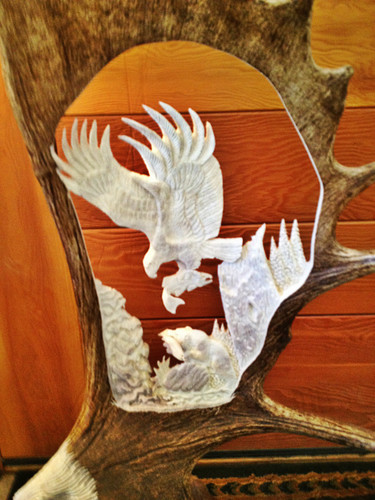Last Catch Bear Moose Antler Carving w/ Eagle Head