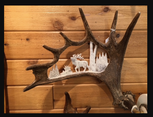 The Walking Elk Moose Antler Carving