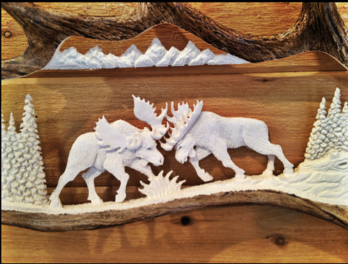Fighting Moose Antler Carving