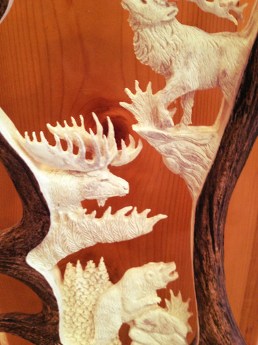 Idaho Big 4 Antler Carving w/ Eagle Head