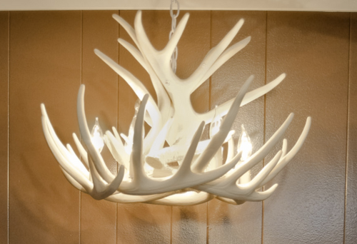"Lake Geneva Cast Antler Chandelier,24"" Wide by 15"" Tall"