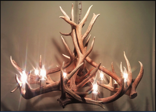 "Moon River Elk Antler Chandelier,  36""W, 30""-36""T, 9 lights"