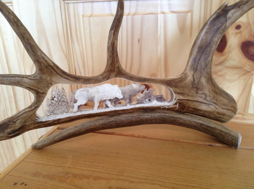 2 Wolves Walking Caribou Antler Carving