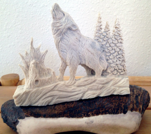 Howling Wolf Antler Carving