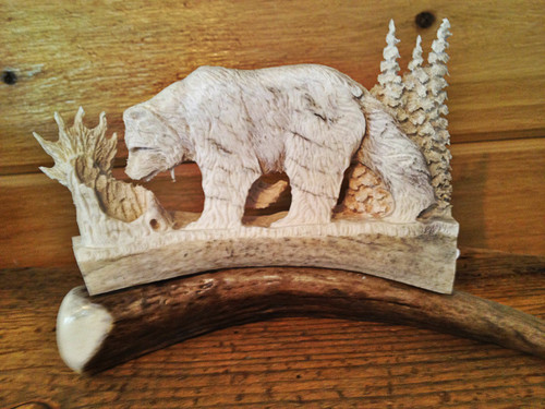 Brown Bear Antler Carving