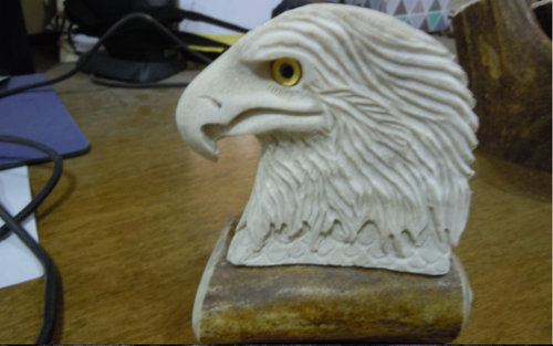 Eagle Head Antler Carving