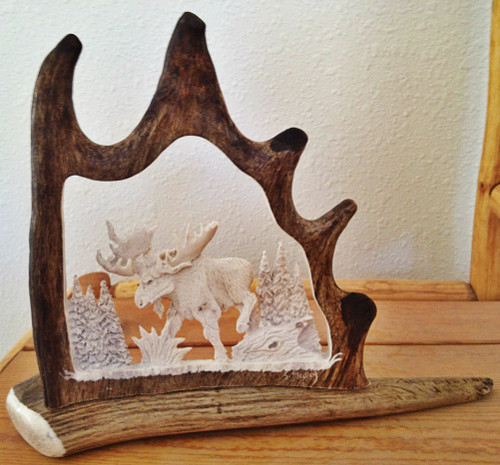 Bull Moose Antler Carving