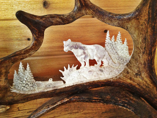 Mountain Lion Antler Carving