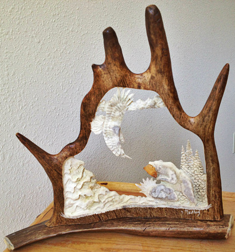 Salmon Loving Bear Antler Carving