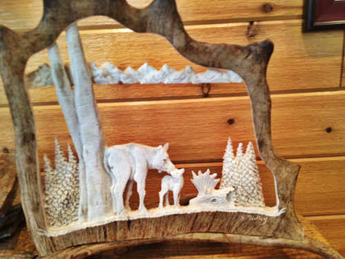 Momma Moose and Calf Antler Carving