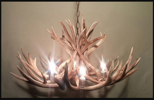 "Colorado Deer Antler Chandelier, 28"" Wide x 15"" Tall, 4 Lights"