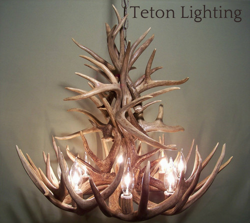 "Ohio Deer Antler Chandelier, 27"" Wide x 20"" Tall, 8 Lights"