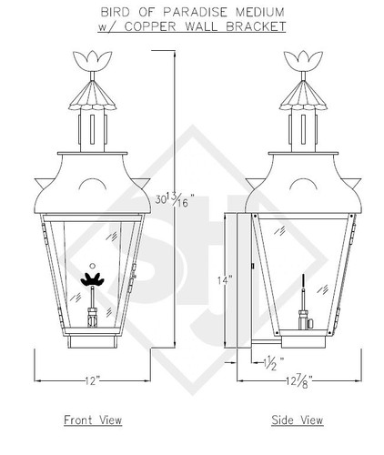 St. James Bird of Paradise Copper Lantern