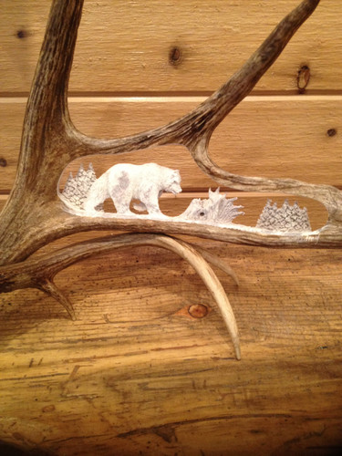 The Lonesome Bear Antler Carving