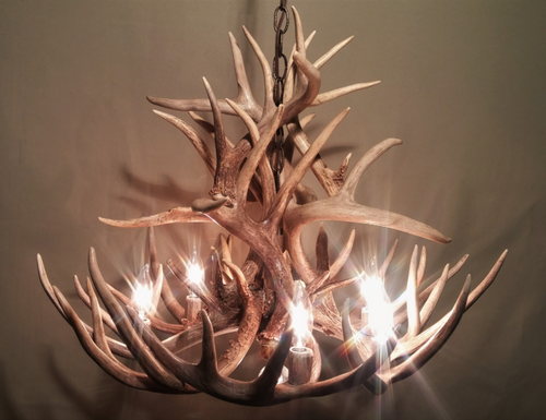 "Maryland Deer Antler Chandelier, 28"" Wide x 20"" Tall, 6 Lights, Down Light"