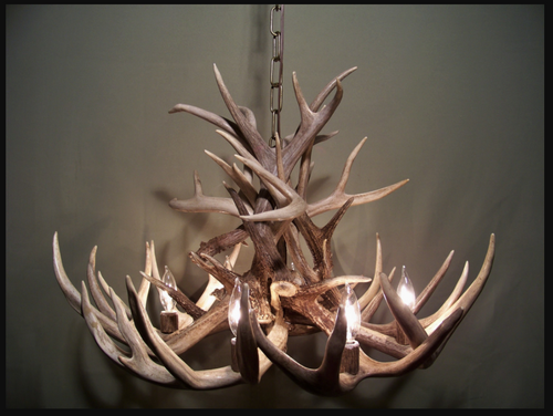 "Arkansas Deer Antler Chandelier, 28"" Wide x 16"" Tall, 6 Lights, Down Light"