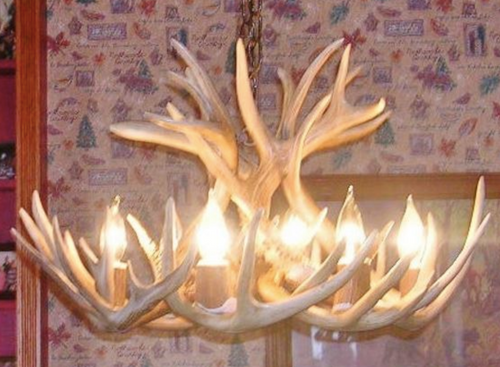 "Kentucky Deer Antler Chandelier, 24"" Wide x 16"" Tall, 6 Lights"