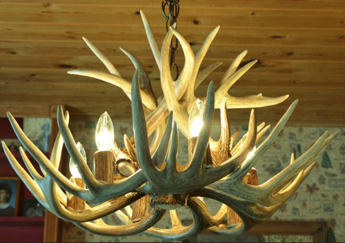"Alabama Deer Antler Chandelier, 24"" Wide x 16"" Tall, 6 Lights"