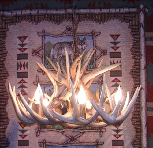 "The North Dakota Deer Antler Chandelier, 22"" Wide x 15"" Tall, 5 Lights, Down Light"