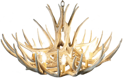 "Casper Mule Deer Cast Antler Chandelier, 37""Wide by 22""Tall"