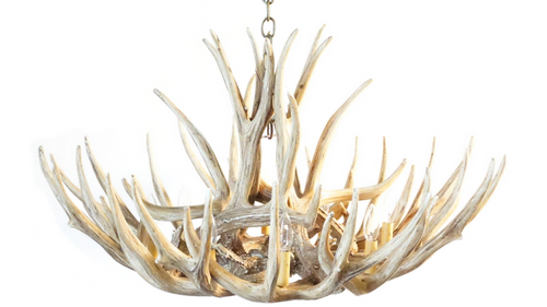 "The Casper Mule Deer Cast Antler Chandelier, 37""Wide by 22""Tall"