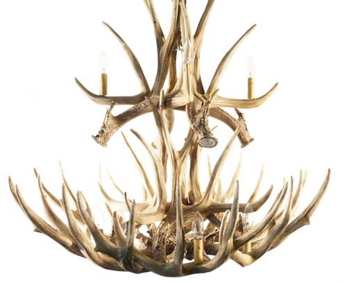 "The Cheyenne Mule Deer Cast Antler Chandelier, 37"" Wide by 35"" Tall"