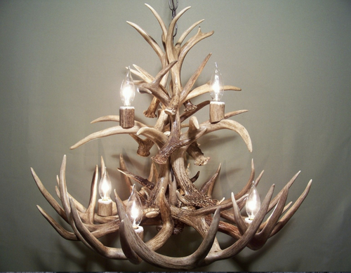 """The Lochsa Deer Antler Chandelier, 23"""" wide by 20"""" tall, two tier 7 lights"""