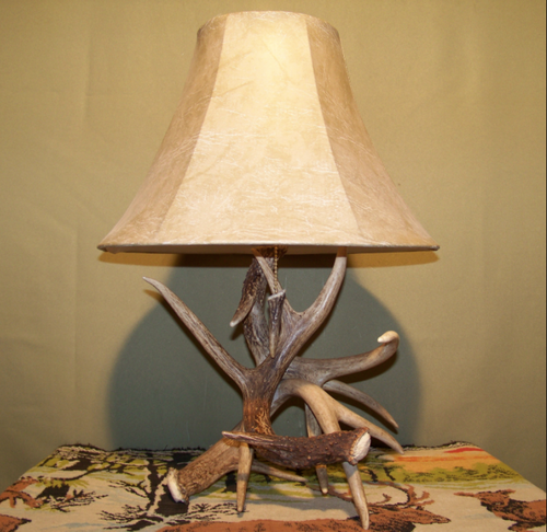 """3 Antler Table Lamp, Antler Tipped Pull Chain, 18""""t x15""""w/ Antler Finial"""