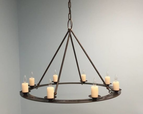 St. James King Arthur Steel Chandelier with Candles